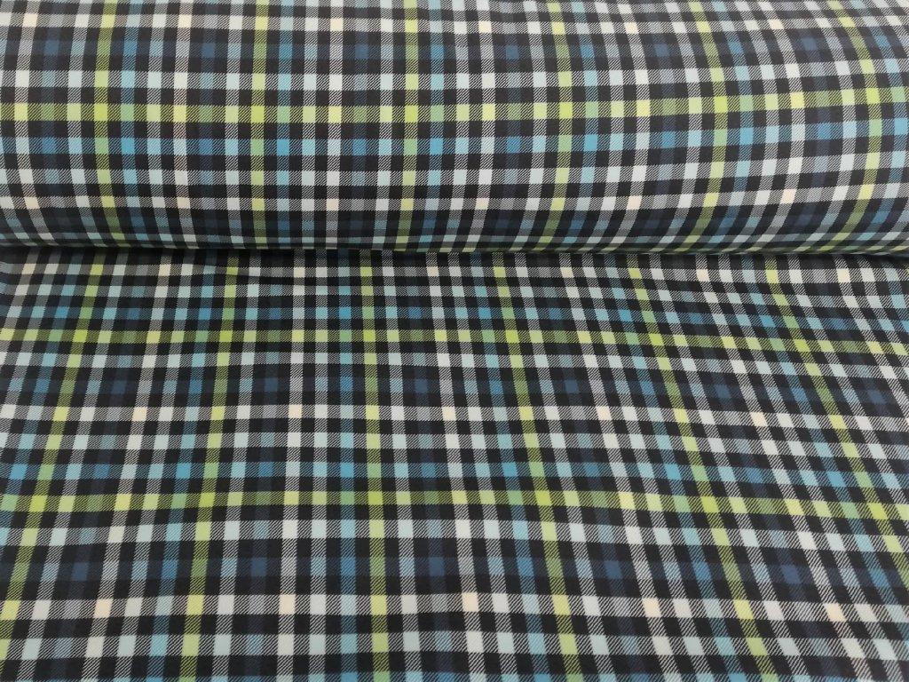 Zimní softshell Zeleno-modré kostičky 5m