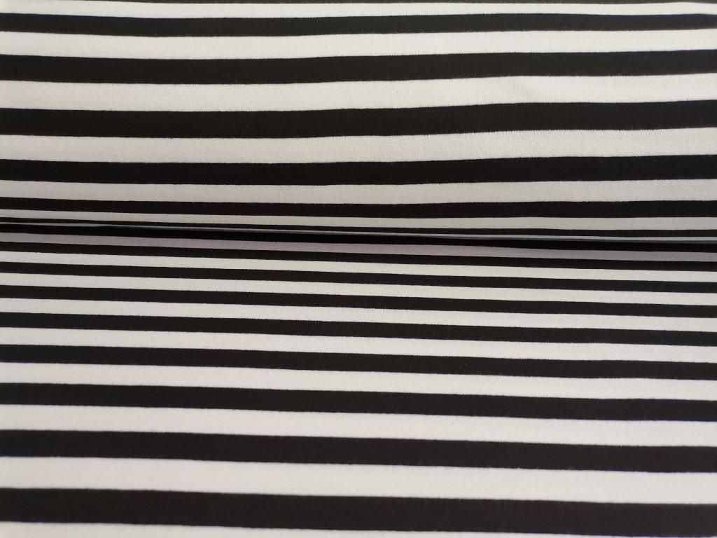 Teplákovina Černo-bílé proužky 5m