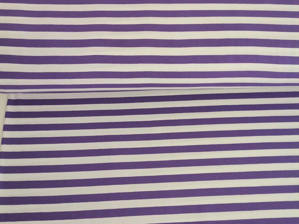 Bavlněný úplet s elastanem Proužky fialkovo-bílé 1cm - 5m