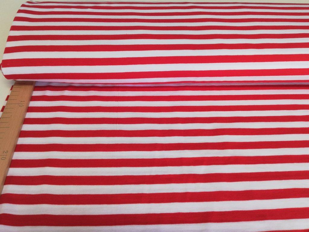 Bavlněný úplet s elastanem Proužky červeno-bílé 1cm - 5m