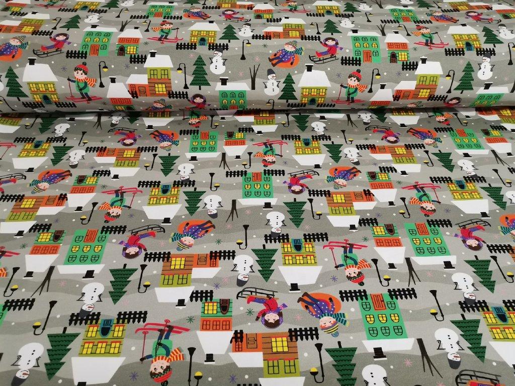 Bavlněný úplet s elastanem Zimní radovánky - digitální tisk 5m