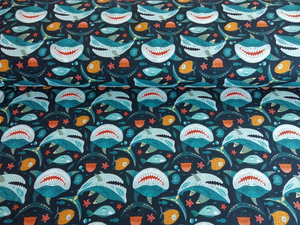 Teplákovina Žraloci - digitální tisk 5m