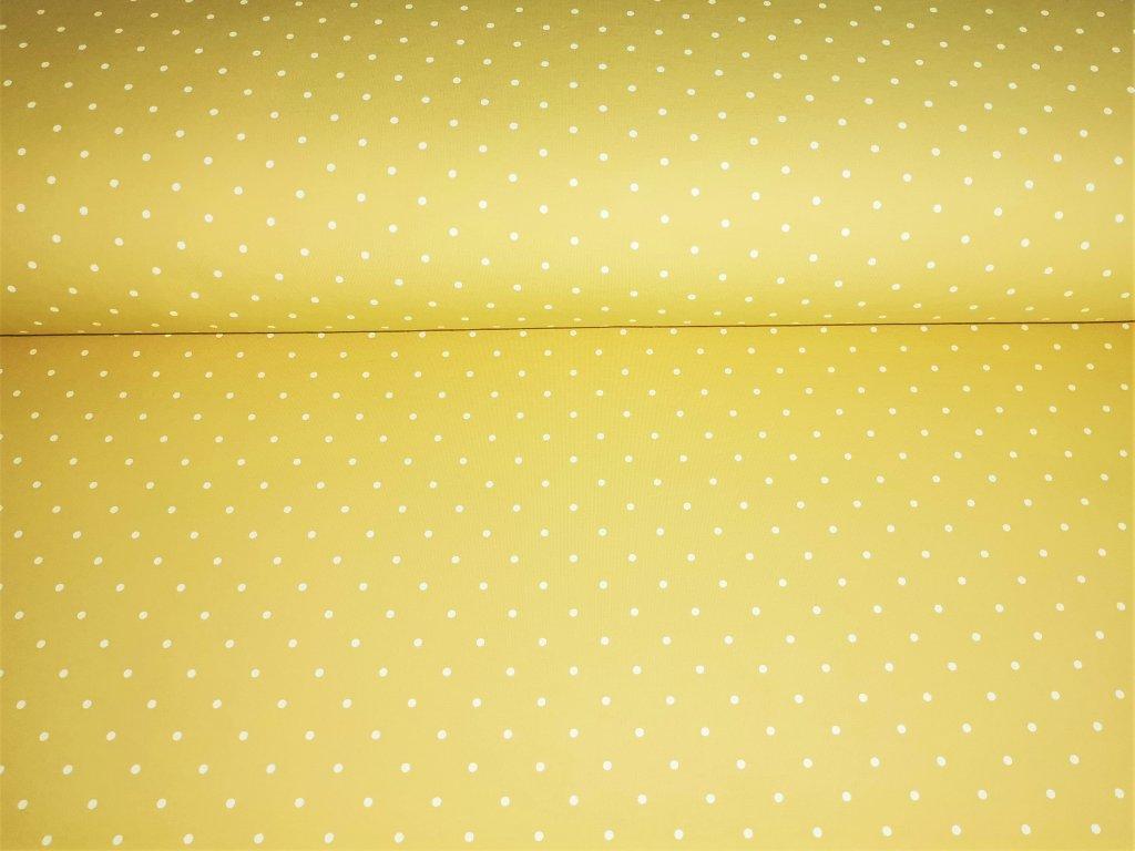 Bílé puntíky na pastelově žluté 5m