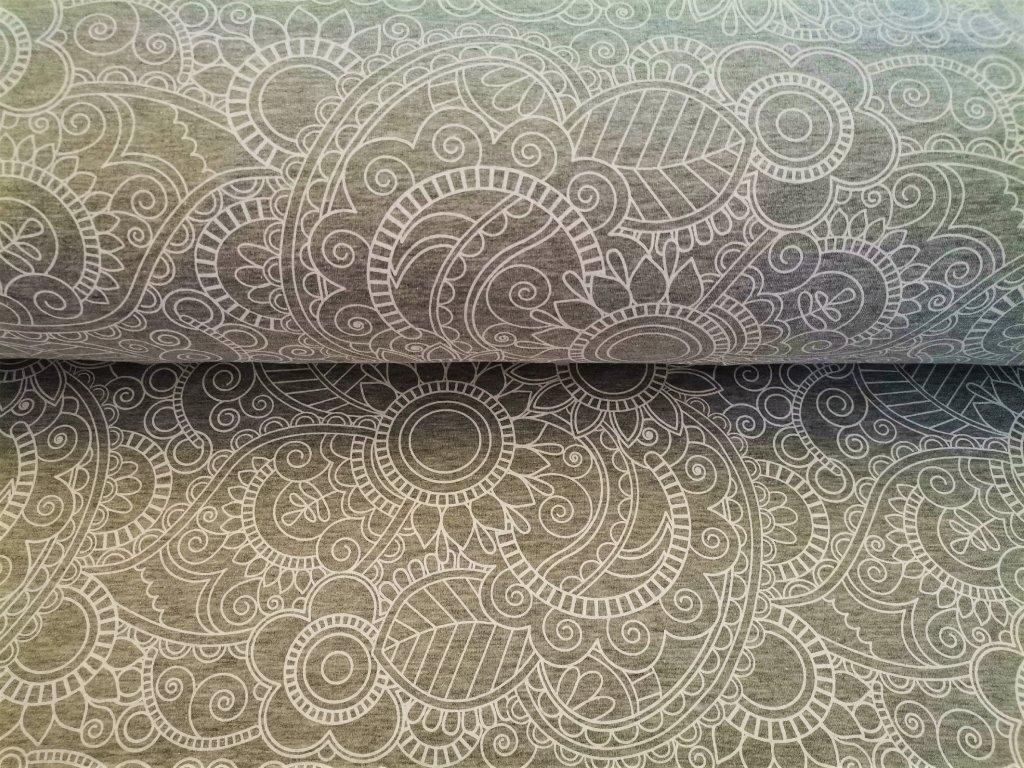 Květované mandaly na světle šedém melíru