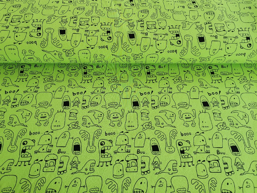 Bavlněný úplet s elastanem Fashion girls na Bubáci na neon zelené  5m