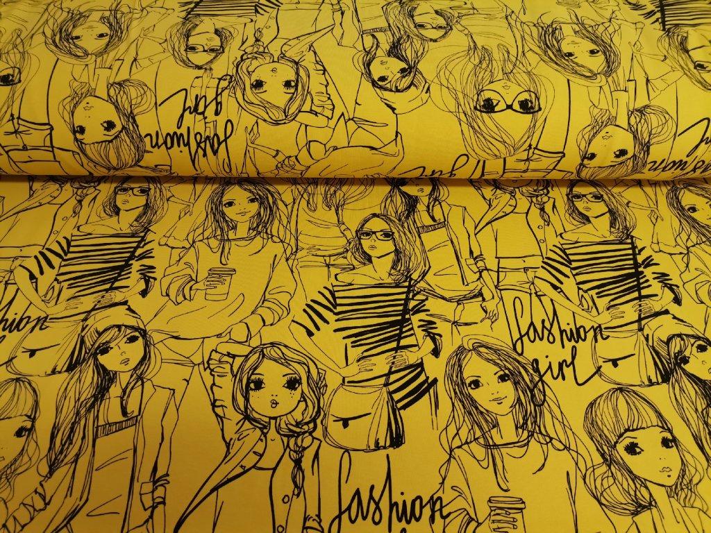 Bavlněný úplet s elastanem Fashion girls na jasně hořčicové 5m