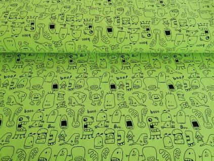 Bavlněný úplet s elastanem Bubáci na neon zelené  5m