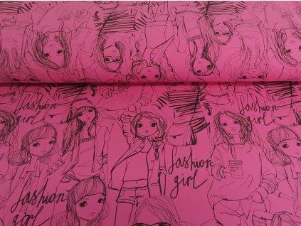 Bavlněný úplet s elastanem Fashion girls na baby růžové  5m