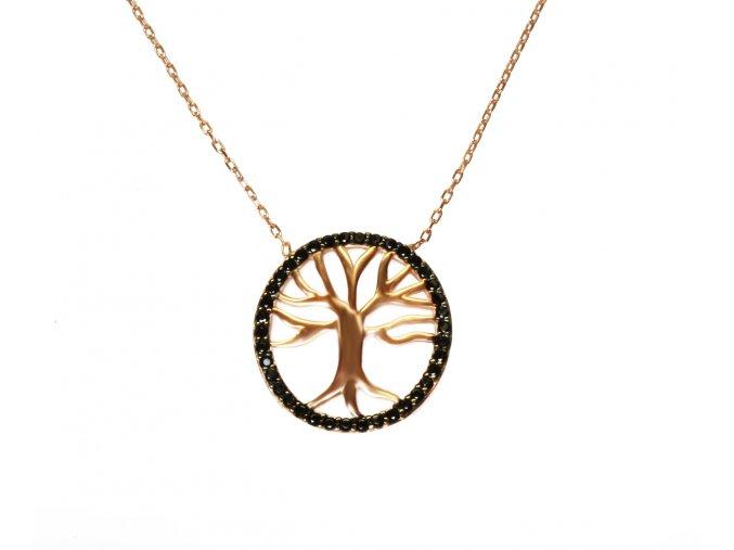 Strom života náhrdelník  pozlacený růžovým zlatem
