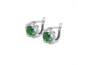 Náušnice se smaragdově zeleným zirkónem 783