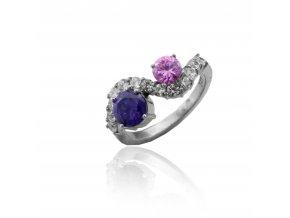 Stříbrný prsten s růžovým a fialovým zirkonem 521