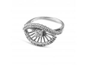 Slušivý stříbrný prsten s bílým zirkonem 135
