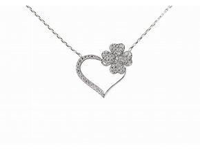 Náhrdelník srdce a květina 248