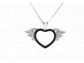 Náhrdelník srdce s andělskými křídly VAL 2019-26