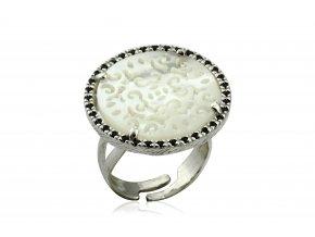 Nápaditý prsten s bílými zirkony 068