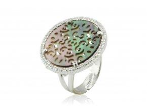 Nápaditý prsten s bílými zirkony 069