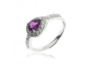 Stříbrný prsten kapka s přírodním ametystem VAL2019-69 (Velikost prstenu 54)