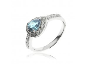 Stříbrný prsten s modrým topazem (Velikost prstenu 57)