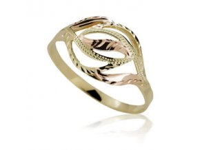 Zlatý prsten 750 ruční montáž