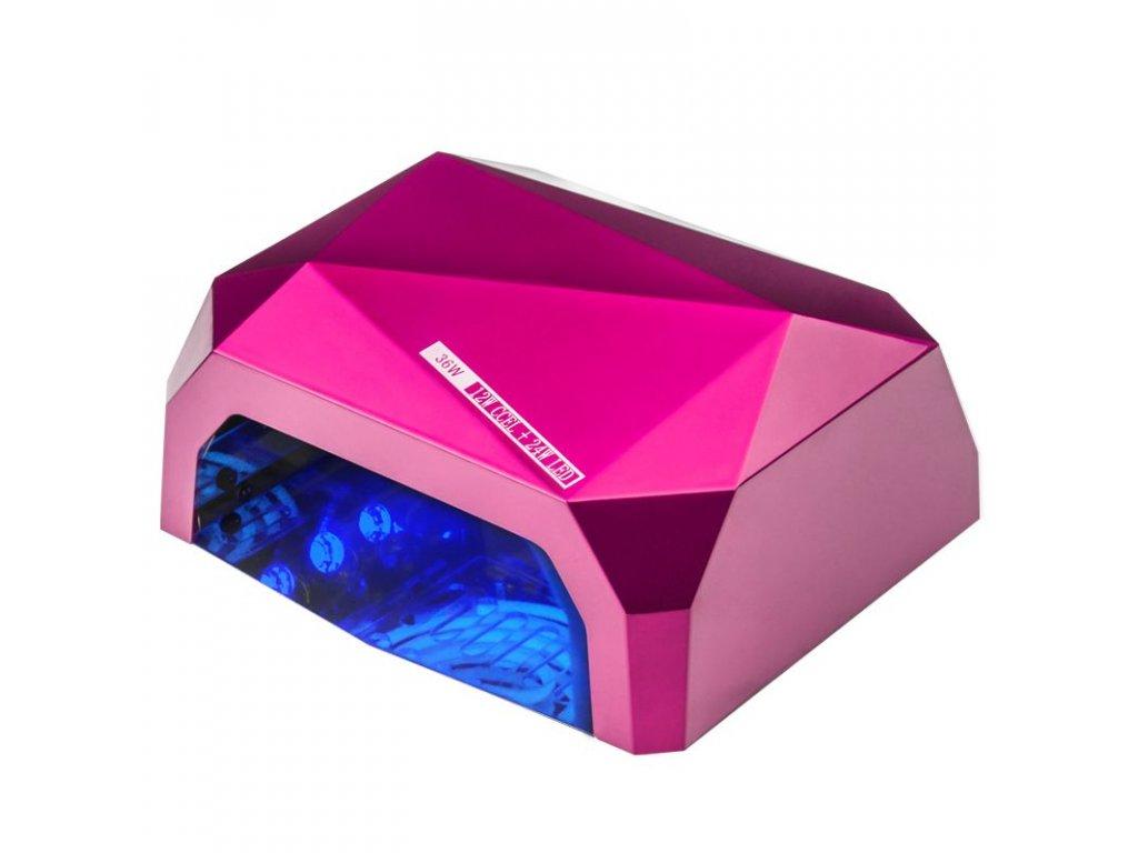 DIAMOND UV lampa 2v1 + časovač CCFL 36W + senzor, růžová