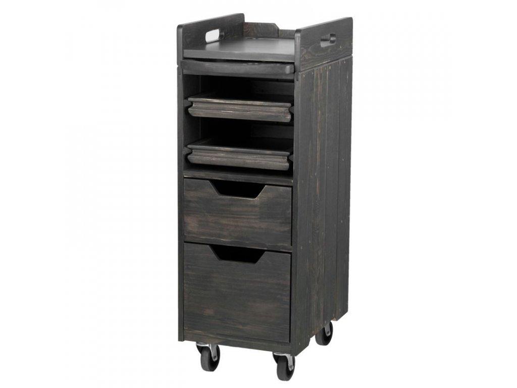 Kadeřnický vozík, dřevěný 991 šedý