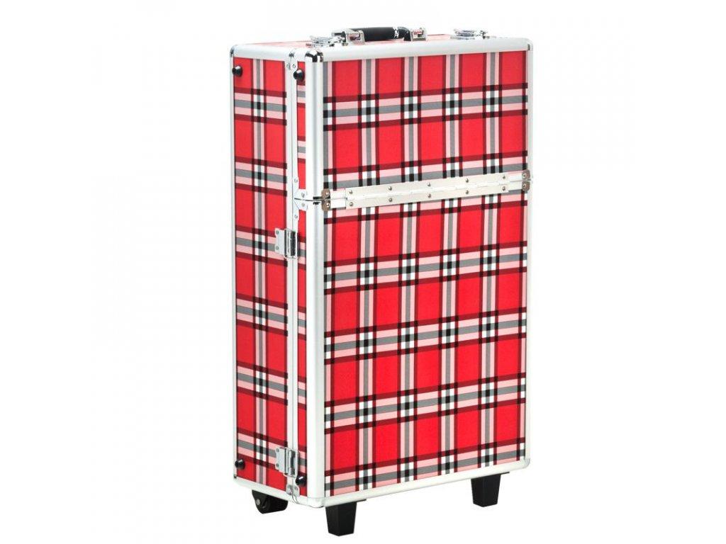 Kosmetický kufr S-015 ČERVENÁ MŘÍŽKA