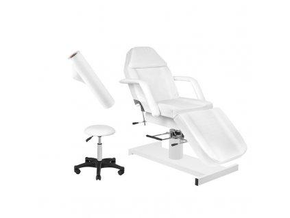 Hydraulické kosmetické lehátko 210 + Kosmetická židle 303 - bílá + jednorázová plachta
