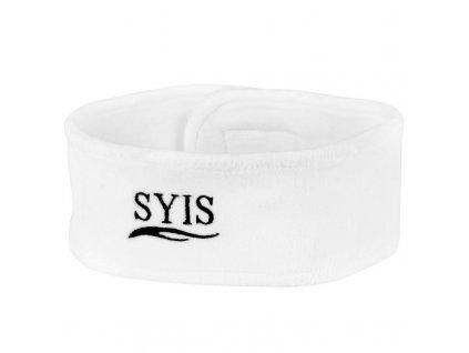 SYIS velurová čelenka Bílá s logem