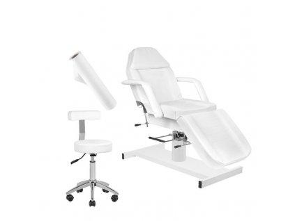 Hydralické kosmetické lehátko 210 + Kosmetická židle 303 - bílá + jednorázová plachta