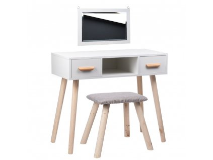 Toaletní stolek ALVA 2 zásuvky a taburet