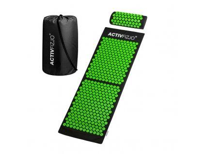 Akupresní podložka ACTIVFYZIO velká s polštářem, černo-zelená