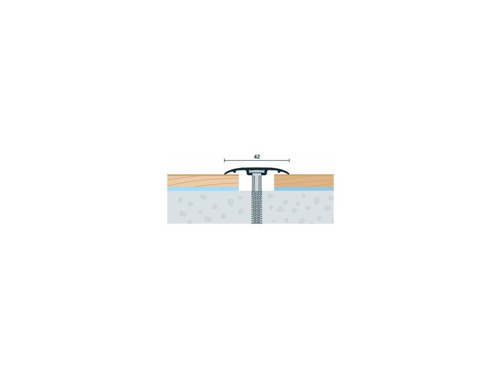 Strieborný Matný, Prechodový profil PRINZ, šírka 42 mm, nivelácia 0-6 mm, dĺžka 270 cm