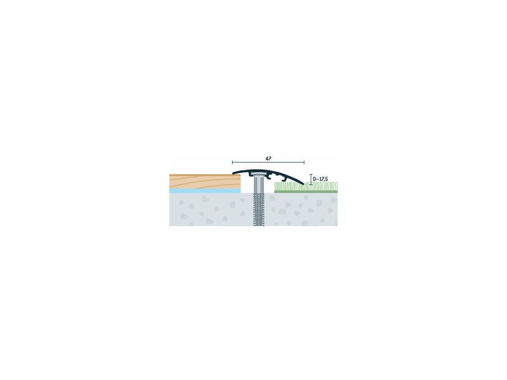 Strieborný Matný, Prechodový profil PRINZ, šírka 47 mm, nivelácia 0-17,5 mm, dĺžka 270 cm