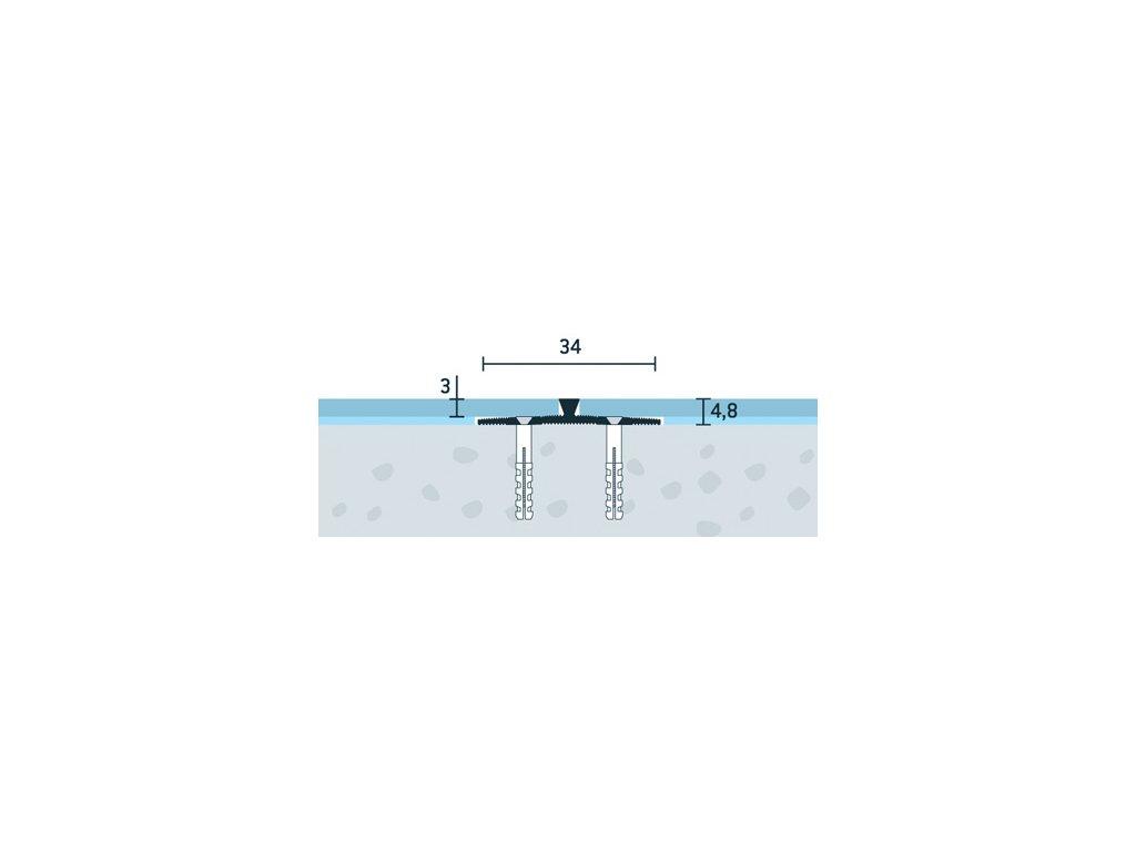 Strieborný Matný, Prechodový profil vŕtaný 34x4,8 mm, hrúbka 3 mm, dĺžka 300 cm