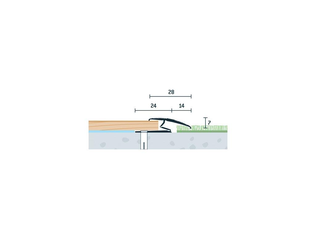 Zlatý Matný, Prechodový flexi profil vŕtaný 28x13 mm, dĺžka 270 cm