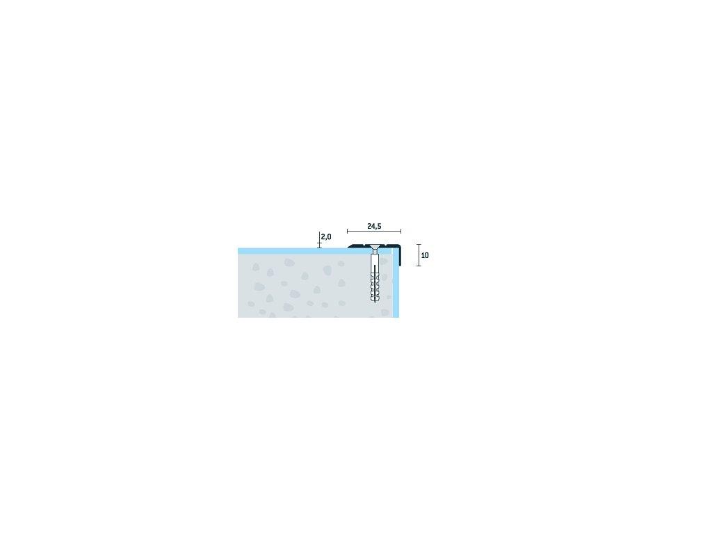 Strieborný matný Schodová hrana vŕtaná 24,5x10 mm, dĺžka 270 cm