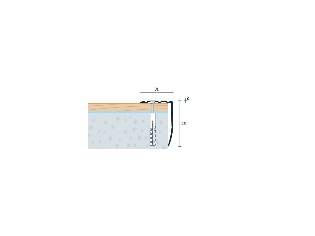 Šampanský Matný Schodová hrana vŕtaná 31x43 mm, dĺžka 250 cm