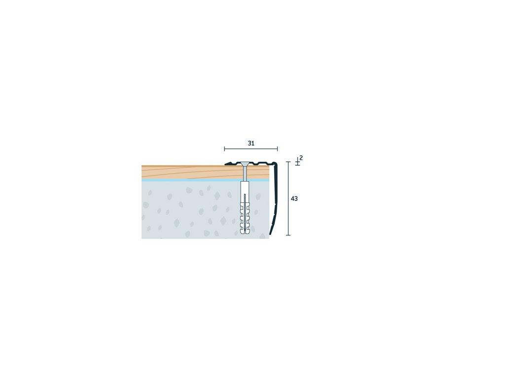Strieborný Matný Schodová hrana vŕtaná 31x43 mm, hliník, elox strieborný matný, dĺžka 250 cm