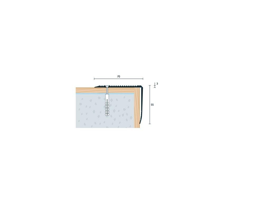 Strieborný Matný Schodová hrana vŕtaná 70x55 mm, dĺžka 250 cm