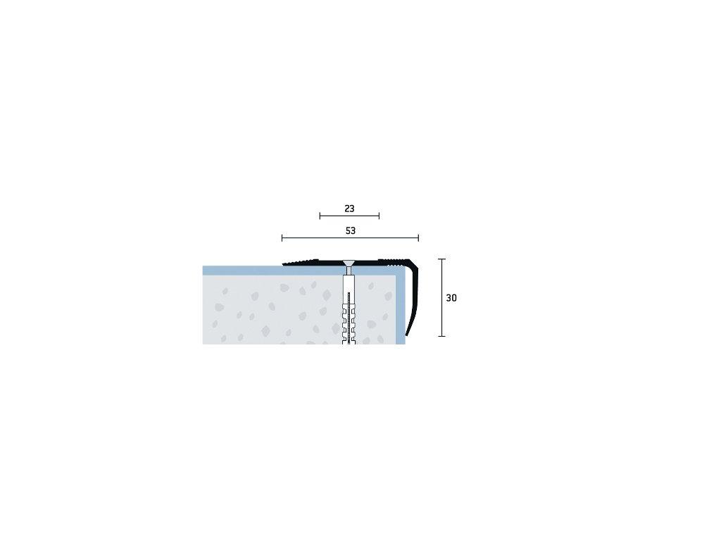 Strieborný Matný Schodová hrana vŕtaná so samolep. krycou páskou 53x30 mm, dľžka 250 cm