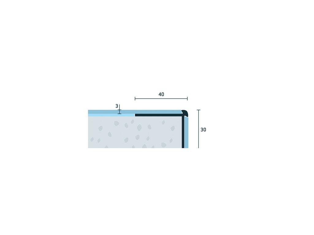 Strieborný Matný Schodová hrana vŕtaná 40x30 mm, hrúbka 3 mm, dĺžka 250 cm