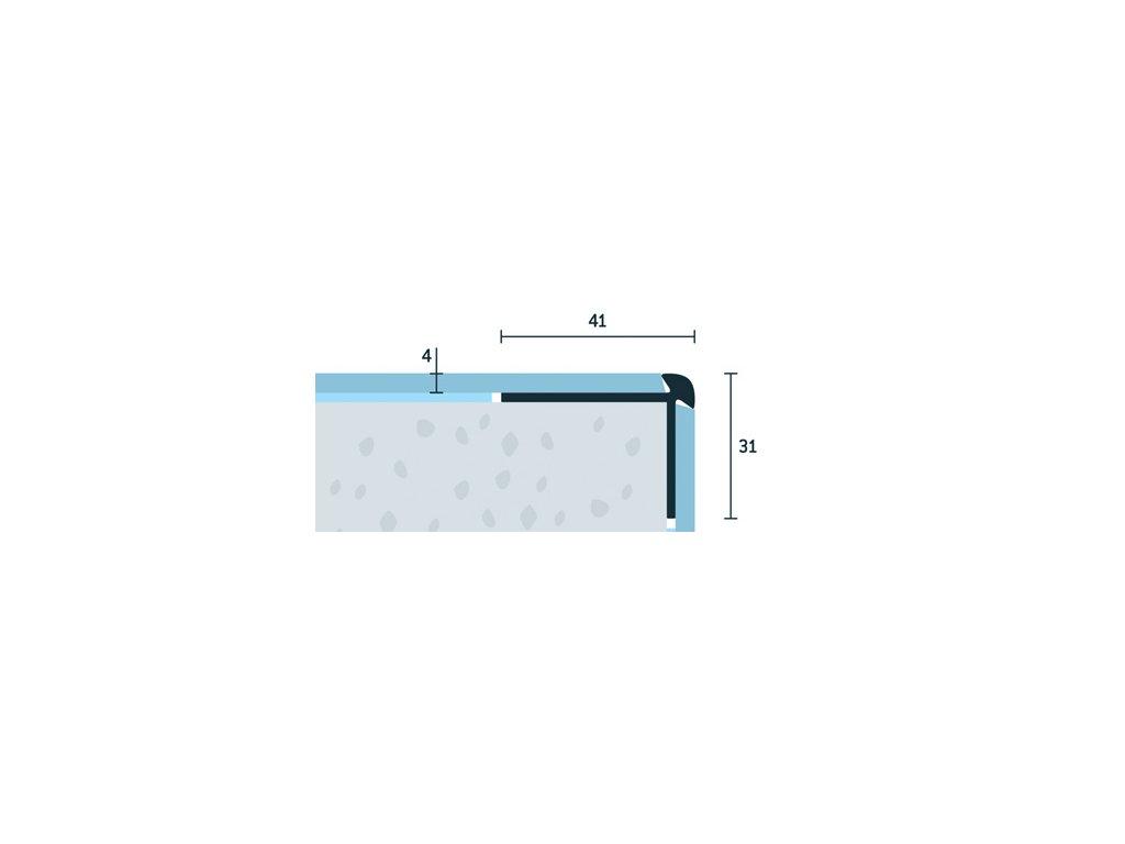 Bronzový Matný Schodová hrana vŕtaná 41x31 mm, hrúbka 4 mm, dĺžka 250 cm