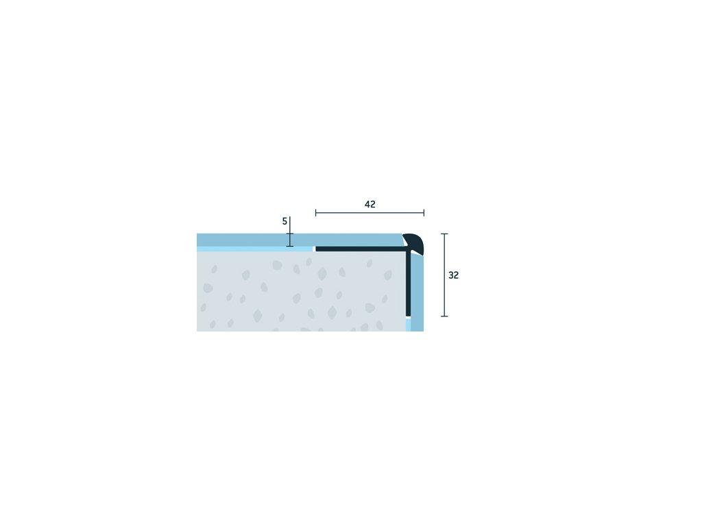 Šampanský Matný Schodová hrana vŕtaná 42x32 mm, hrúbka 5 mm, dĺžka 250 cm