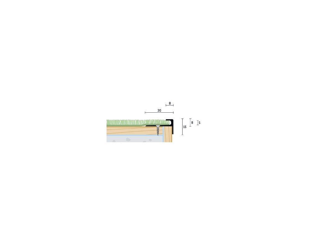 Zlatý Matný Schodový profil vŕtaný 30x15 mm, hrúbka 5 mm, dĺžka 250 cm