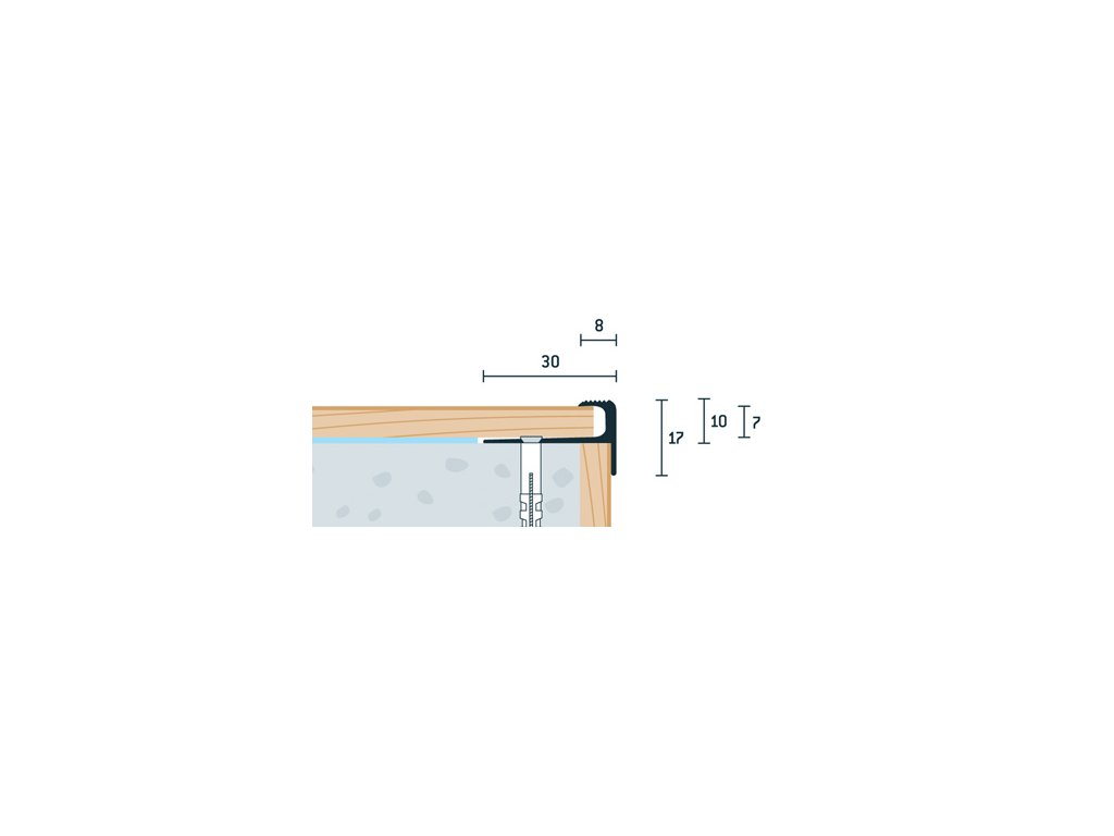 Strieborný Matný Schodový profil vŕtaný 30x17 mm, hrúbka 7 mm, dĺžka 250 cm