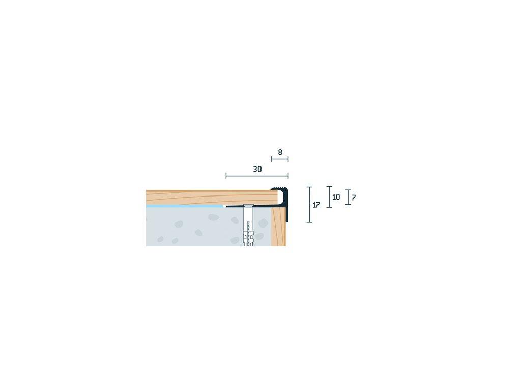 Zlatý Matný Schodový profil vŕtaný 30x17 mm, hrúbka 7 mm, dĺžka 250 cm