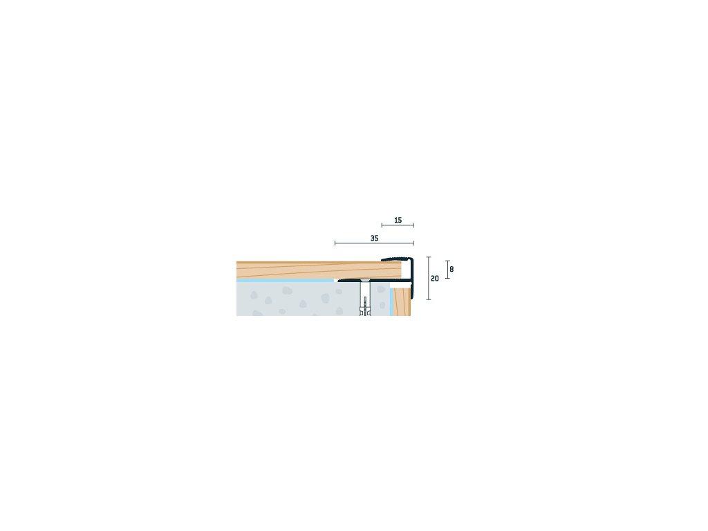 Šampanský Matný Schodový profil 35x20 mm, hrúbka 8 mm, dĺžka 270 cm