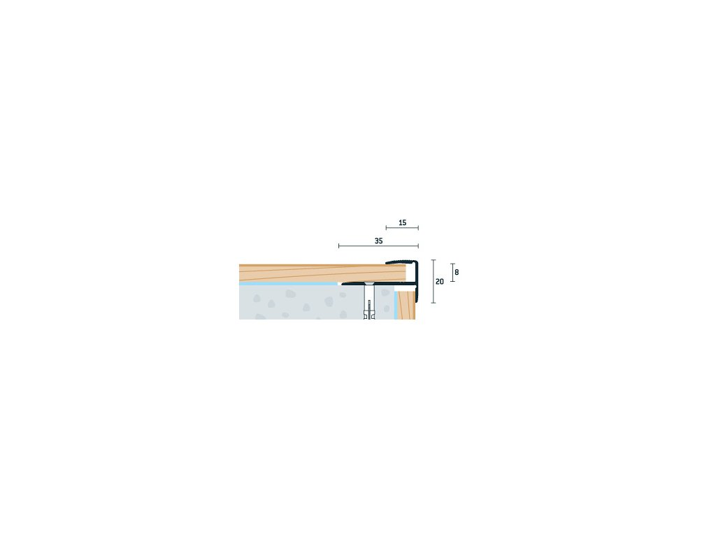 Strieborný Matný Schodový profil 35x20 mm, hrúbka 8 mm, dĺžka 270 cm