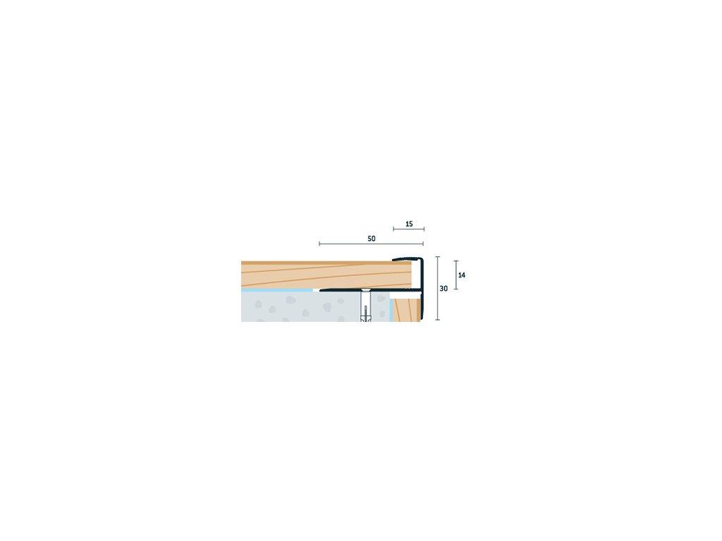 Strieborný Matný Schodový profil vŕtaný 50x30 mm, hrúbka 13-15 mm, dĺžka 250 cm