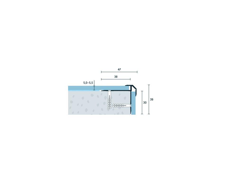 Strieborný Matný Schodový profil vŕtaný 47x39 mm, hrúbka 5,0 - 5,5 mm, dĺžka 250 cm